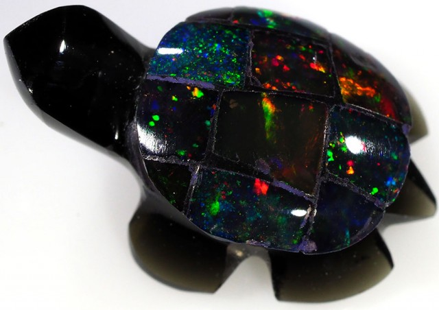5.50 CTS FIREY  MEXICAN OPAL TURTLE CARVING [VS7496]