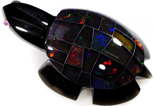 48.80 CTS FIREY  MEXICAN OPAL TURTLE CARVING [VS7513]