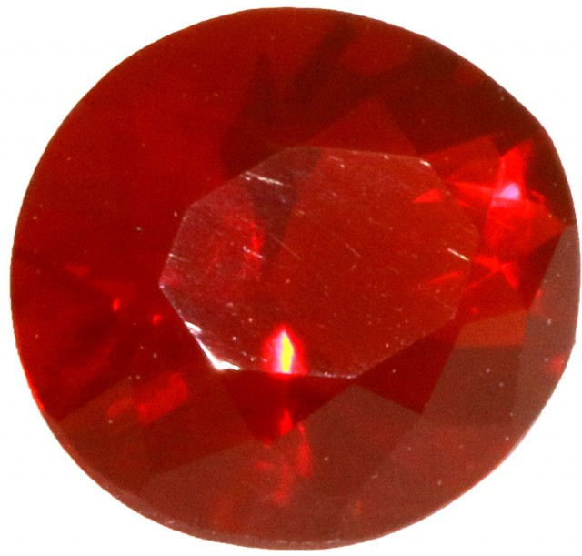 0.60 CTS  RED MEXICAN FIRE OPAL -FACETED-TOP POLISH. [VS7524]