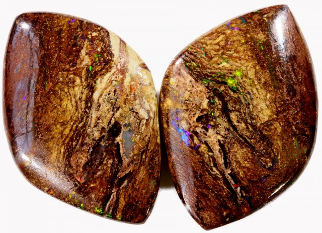 33.95 CTS PAIR BOULDER WOOD FOSSIL REPLACEMENT [BMA4413]