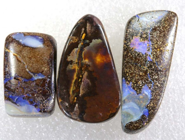 87.30CTS BOULDER  OPAL POLISHED DRILLED PARCEL 3PCS IN-10