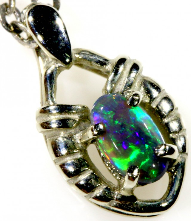 SOLID OPAL SET IN 18K WHITE GOLD PENDANT TOP SB597