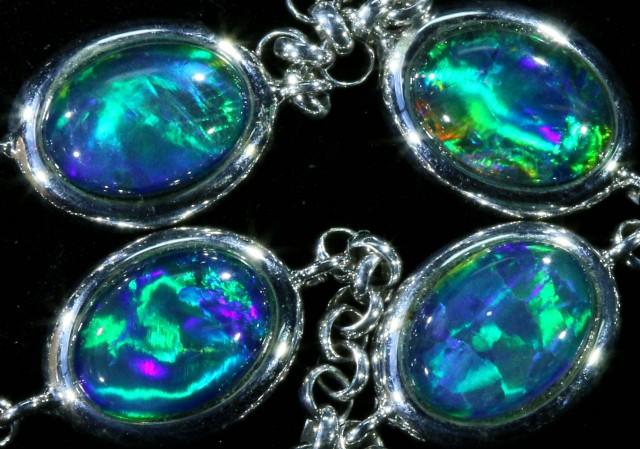 15.20 cts Fire Opal triplet  Bracelet , top design sterling silver  SB 604