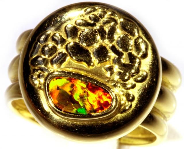 ITALIAN MADE 18K GOLD BLACK OPAL RING SIZE 8 ADJUSTABLE CJ 934