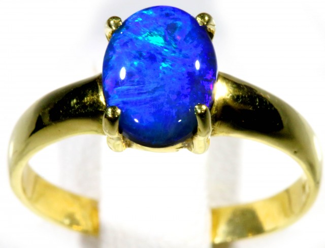 SIZE 6 DOUBLET OPAL 18 K GOLD RING CF150