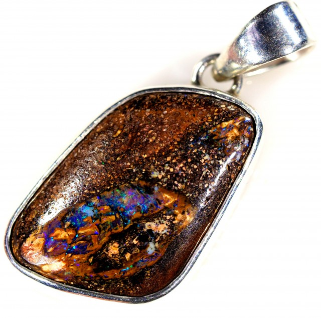 WOOD FOSSIL BOULDER STONE SET IN SILVER PENDANT [SOJ5654]
