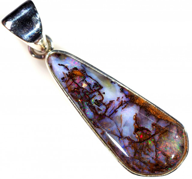 WOOD FOSSIL BOULDER STONE SET IN SILVER PENDANT [SOJ5658]