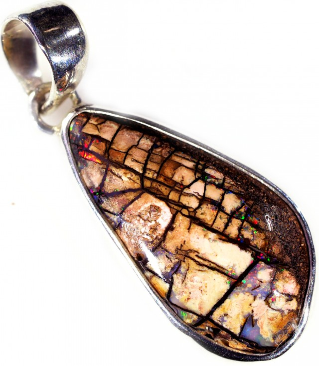 WOOD FOSSIL BOULDER STONE SET IN SILVER PENDANT [SOJ5662]