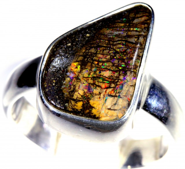 SIZE 7 WOOD FOSSIL BOULDER SET IN SILVER RING [SOJ5711]