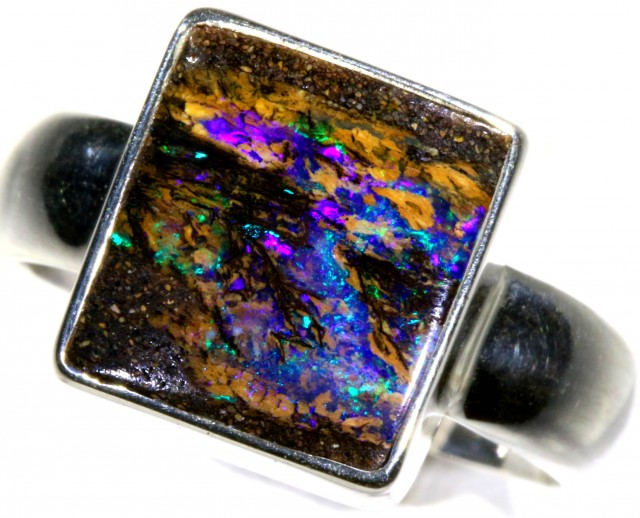 SIZE 8 WOOD FOSSIL BOULDER SET IN SILVER RING [SOJ5718]