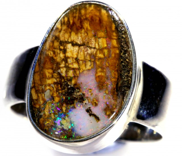 SIZE 9 WOOD FOSSIL BOULDER SET IN SILVER RING [SOJ5736]