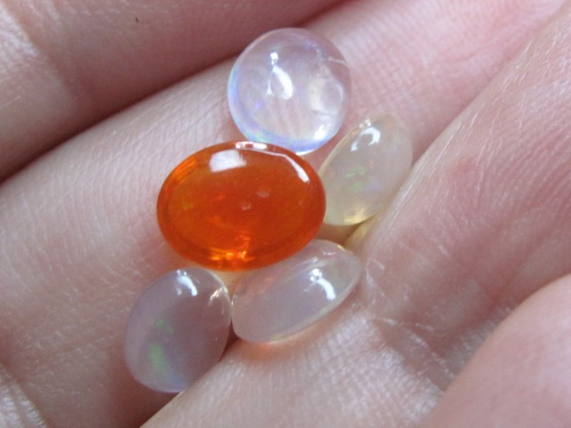 3.19 ct Mexican Fire Opal Parcel of 5 Gemstones in a Vial
