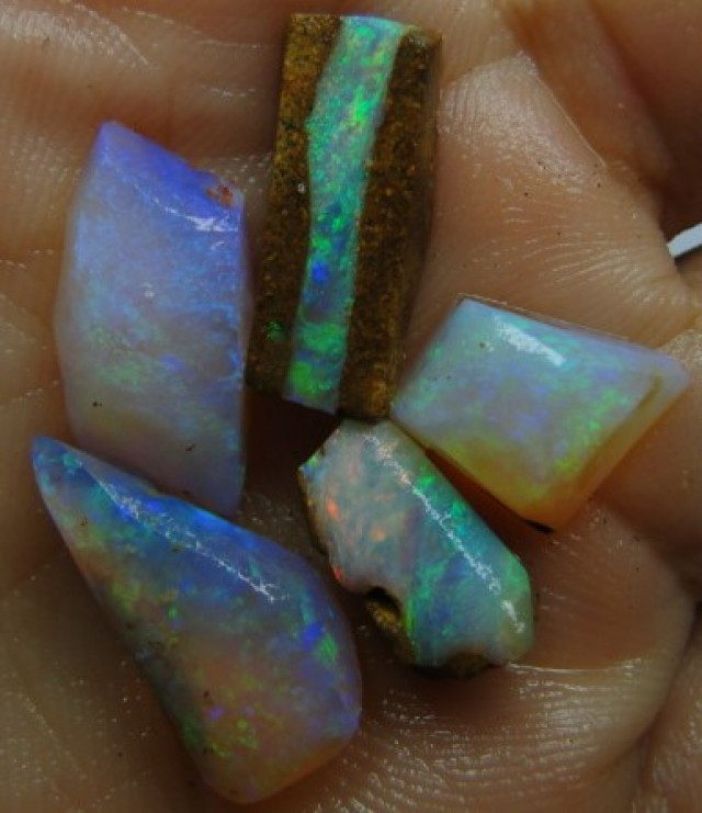 20.30CT SMALL BRIGHT WOOD FOSSIL BOULDER OPAL  SS01285