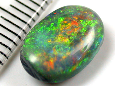 SUNSET OLIVE  BRIGHT FLASH BLACK OPAL 2.10 CARATS QO1487