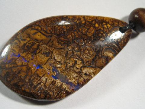 YOWAHOPALS*46.45ct -  blue matrix opal pendant