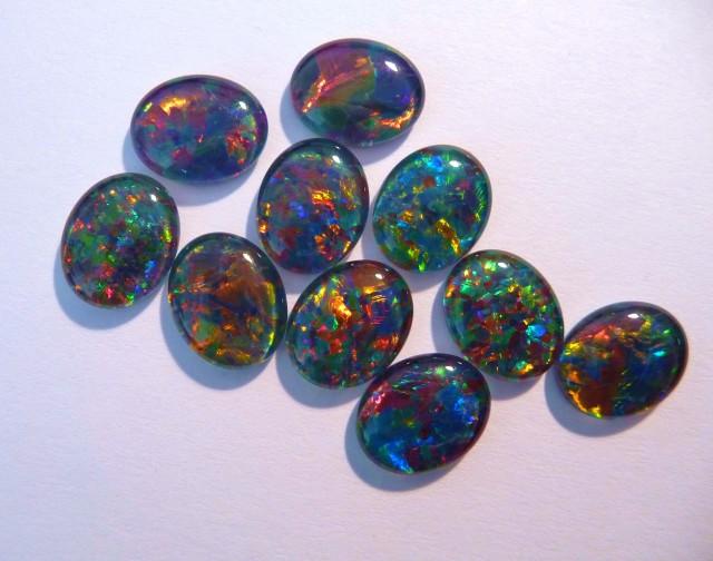 Parcel of 10 Gem Grade Australian Opal Triplets, 11x9mm