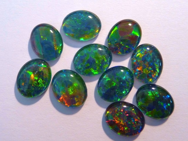 Parcel of 10 Gem Grade Australian Opal Triplets, 10x8mm