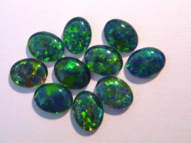 Parcel of 10 Gem Grade Australian Opal Triplets, 9x7mm
