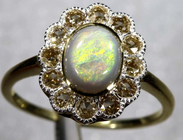12.25CTS SOLID OPAL DIAMOND AND GOLD ART DECO RING OF-1923