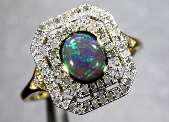 14.60CTS SOLID OPAL DIAMOND AND GOLD ART DECO RING OF-1924