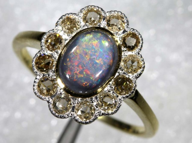 12.20CTS SOLID OPAL DIAMOND AND GOLD ART DECO RING OF-1933
