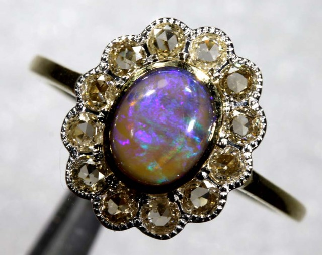 11.85CTS SOLID OPAL DIAMOND AND GOLD ART DECO RING OF-1935