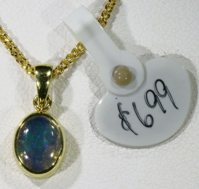 EnhancedCrystal Opal set in 18k Gold Pendant  SB 621