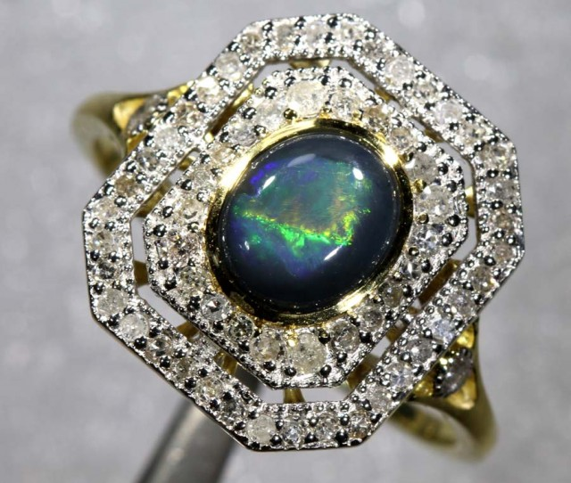 14.55CTS SOLID OPAL DIAMOND AND GOLD ART DECO RING OF-1936