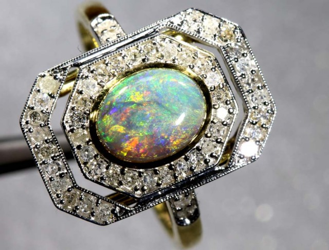 15.25CTS 14K SOLID OPAL DIAMOND AND GOLD ART DECO RING OF-1938