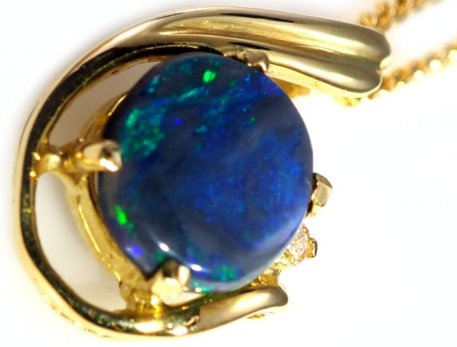 Black Opal set in 18k Gold Pendant  SB628