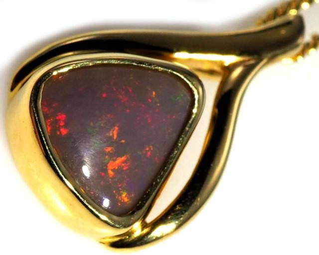 Black Opal set in 18k Gold Pendant  SB631