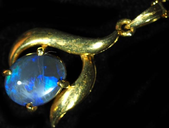 Black Opal set in 18k Gold Pendant  SB647