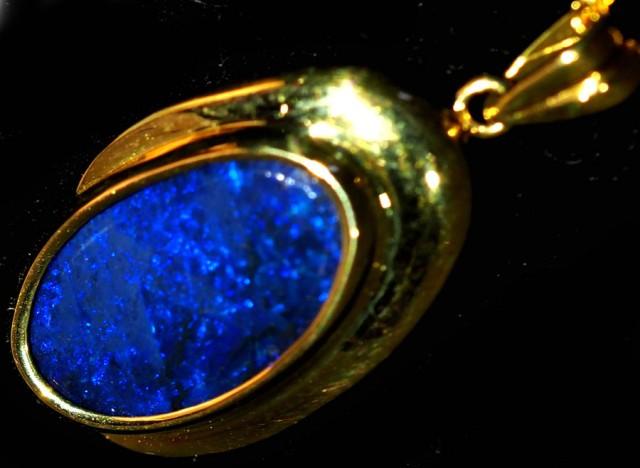 Black Opal set in 18k Gold Pendant  SB650