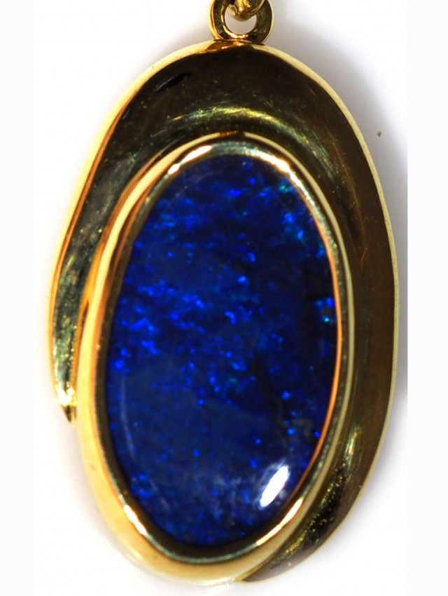 Black Opal set in 18k Gold Pendant  SB650