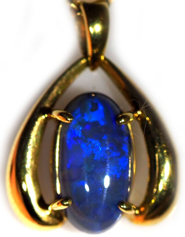 Black Opal set in 18k Gold Pendant  SB653