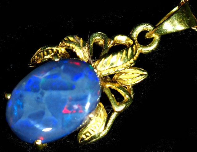 Black Opal set in 18k Gold Pendant  SB658