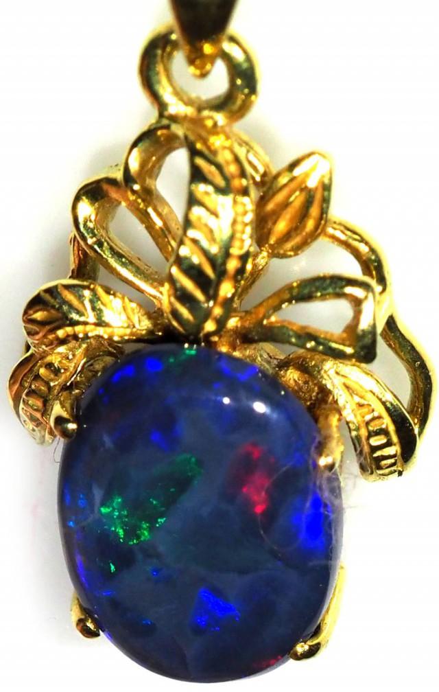 Black Opal set in 18k Gold Pendant  SB658