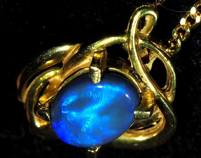 Black Opal set in 18k Gold Pendant  SB660