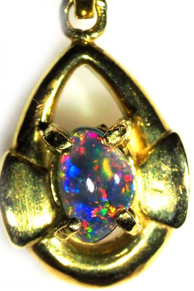 Black Opal set in 18k Gold Pendant  SB662