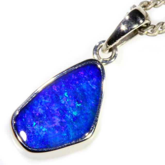 Boulder Opal set in 18k  White Gold Pendant  SB667