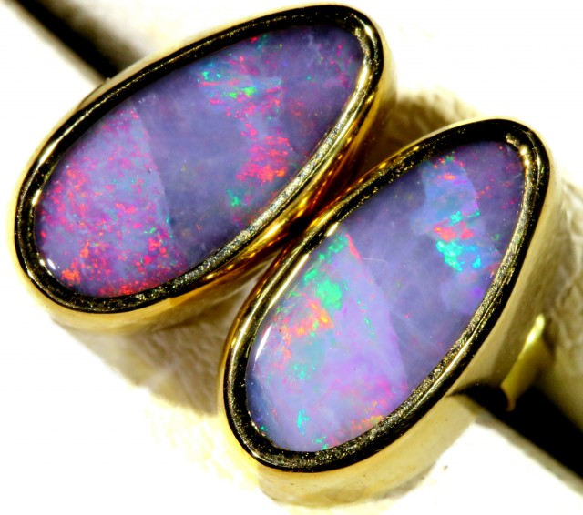 Fire Red boulder  Opal set in 18k Gold Earrings SB678