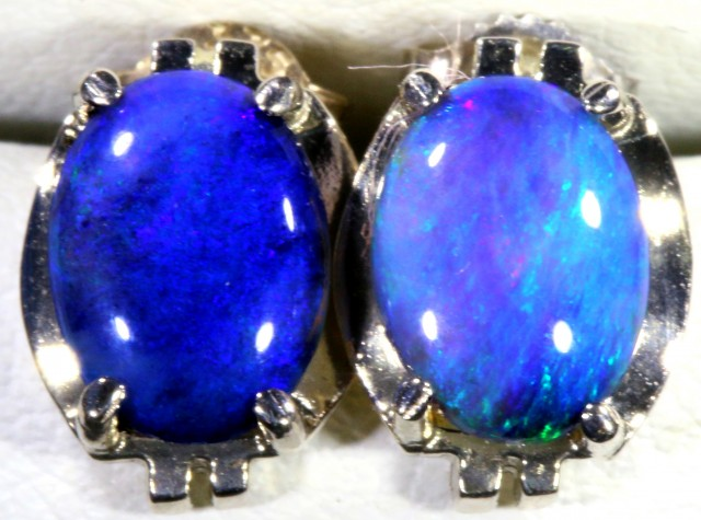 Black Crystal Opal set in 18k White Gold Earrings SB680