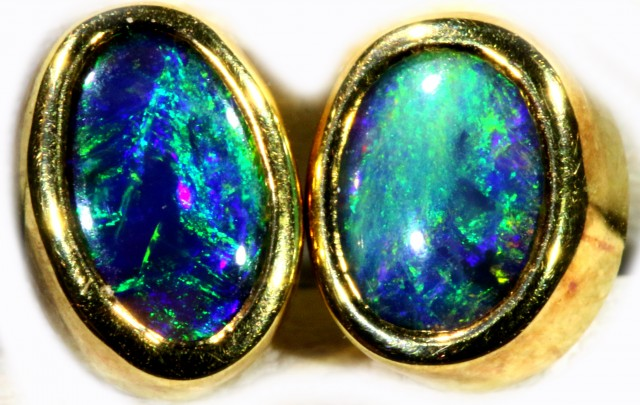 Black Opal set in 18k Gold Earrings SB682