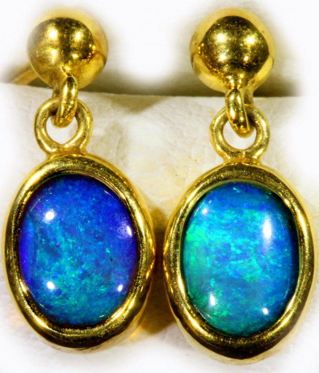 Black Opal set in 18k Gold Earrings SB684