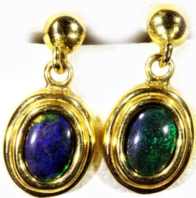 Black Opal set in 18k Gold Earrings SB685
