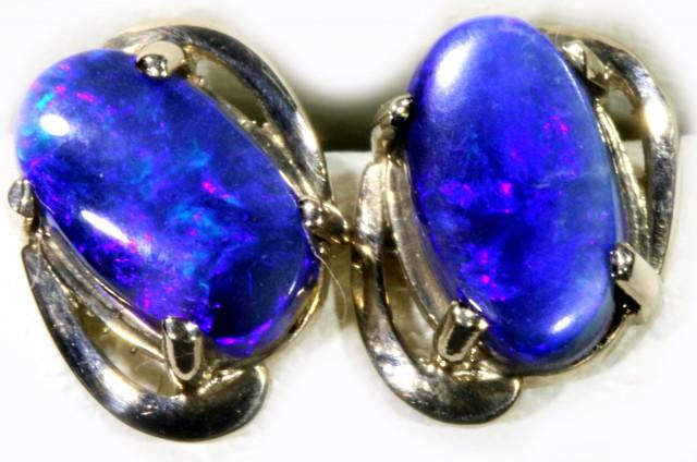 Black Opal set in 18k White Gold Earrings SB687