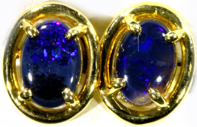 Black Opal set in 18k Gold Earrings SB688