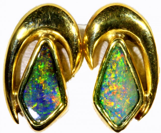 Boulder Opal set in 18k Gold Earrings SB690