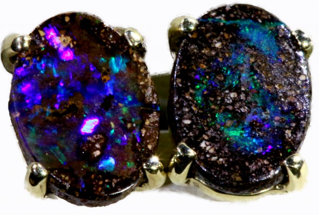 Boulder Opal set in 18k White Gold Earrings SB693