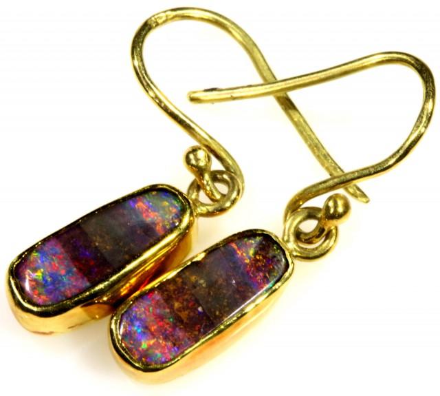 Boulder Opal set in 18k Gold Earrings SB694